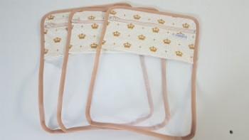 Conjunto de saquinhos organizadores para bolsa (3 peças) - Coroa Bege